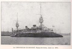 The French Navy cruiser Dupuy de Lôme, launched in 1890, considered the first armored cruiser ever built. The distinctive lines of cutaway bow, reminiscent of the old tradition of naval rams, was actually a design feature intended to ensure safe clearance for the muzzle flash of the large forward-facing cannons.