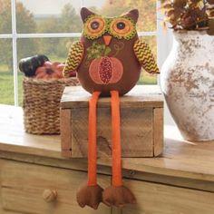 Plush Harvest Owl Shelf Sitter