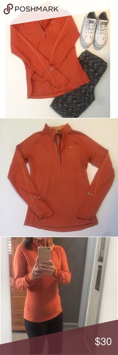 Nike • Half • Zip • Pullover Nike Dri Fit half zip pullover. Orange in color with a lighter shade on collar and line going down each sleeve. No thumb holes.   Brand • Nike.  Size • Medium, fit is best between 6/8.  Fabric • 88% polyester, 12% spandex.  Condition • Worn with care in beautiful condition.   Measurements upon request. Nike Tops
