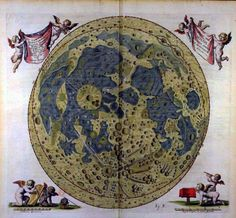 In the history of illustrated and charted moon maps, there is a person named Elisabeth Hevelius. This moon map, published in 1647, is one in a published work titled Selenographia by Johannes Hevelius. Elisabeth proposed marriage at age 17 to this astronomer. They toiled together in the dark of night, charting the stars for what was to become the first star maps published by Elisabeth after Johannes's death in 1687.