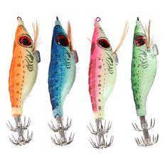 ZANLURE 4inch Fishing Lures 3D Bait Fluorescent Squid Cuttlefish Hook