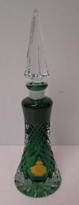 Antique Emerald Green Lead Crystal West Germany Perfume Bottle Original Stopper