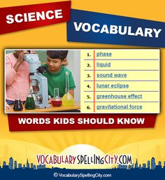 This science board features science vocabulary lists for K-12 students by grade level and category.