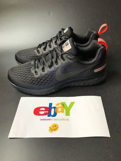 Nike Air Zoom Pegasus 34 Shield 907327-001 Men Running Black Obsidian Shoes    31d88158c8a26
