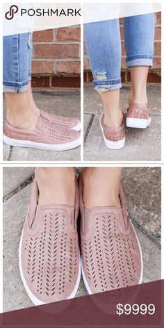 SALEPerforated Slip On Sneakers RESTOCK ON THE WAY‼️ RESERVE YOUR SIZE‼️Love the look of these slip on sneakers!! A dusty rose pink perforated slip on sneaker. So comfy and perfect for that every day look. Runs true to size. Bundle and save 10%. No trades. Qupid Shoes Sneakers