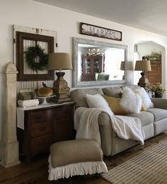 Fall decor in family room - House on Winchester
