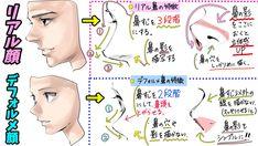 """吉村拓也 on Twitter: """"「イケメンを描くのが苦手、、、」 「どうしても立体感が出ない、、!」 という人へ❗️ 【顔の描き方】と【鼻パース表】 「リアル」と「デフォルメ」タイプの ✨描きわけマニュアル✨です!… """""""