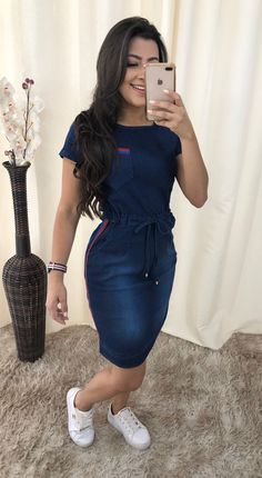 Casual Dresses, Casual Outfits, Cute Outfits, Fashion Outfits, Dress Outfits, Modest Outfits, Indian Fashion Trends, Latest African Fashion Dresses, Denim Bodycon Dress