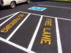 865-680-9225 Parking Lot Striping in Jacksboro, TN Pavement Repair, aaastripepro@gmail.com Handicapped Parking Stencils Painted, Fire Lane - Np Parking with Crosshatching 865-919-1927