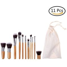 Eshylala 11 bamboo handle makeup brush suit natural carbonated bamboo handle with environmental protection linen bag combination *** To view further for this item, visit the image link. (This is an affiliate link) #Makeup