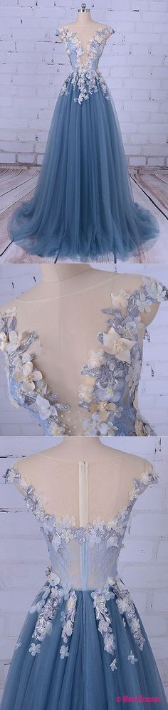 Charming Prom Dress, Elegant Prom Dress, Long Tulle Homecoming Dress, Appliques Prom Dresses, Formal Dress PD20188519