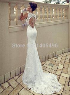 2015 vestido de noiva Sexy espagueti del cordón del amor abierto volver sirena vestido de novia sin espalda vestido de boda de verano