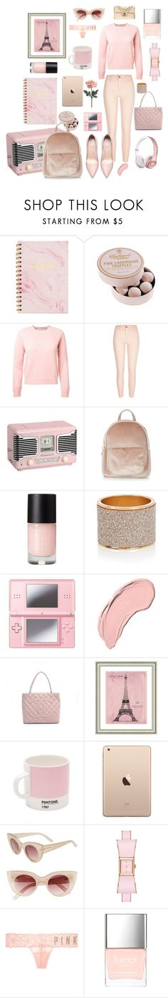 """""""Pink contest entry"""" by november17 ❤ liked on Polyvore featuring POSH, River Island, New Look, Nintendo, Beats by Dr. Dre, NYX, Chanel, Vintage Print Gallery, Pantone and MINKPINK"""