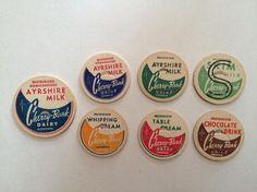 1960's Vintage Cherry Bank Dairy Milk Bottle Tops