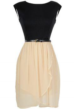Onyx and Ivory Belted Chiffon Dress