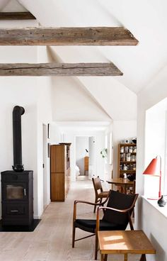 Black & White + Wood Beams via Rika Otsuru