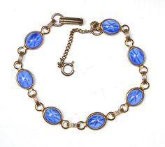 Vintage Star Sapphire Bracelet BLUE GLASS by SellitAgainVintage, $19.50