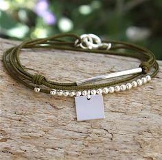 Bracelet cordon jonc perles et carré argent massif 925