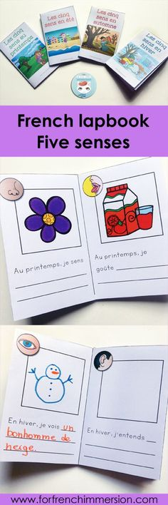 French Four Seasons Minibooks. Activity included in the French Five Senses Lapbook: a hands-on, interactive activity to recap and consolidate knowledge about the five senses. Senses Activities, Interactive Activities, Kindergarten Activities, Interactive Notebooks, Ways Of Learning, Kids Learning, Core French, French Classroom, Classroom Games