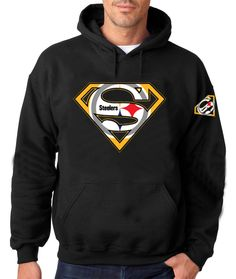 Superman Pittsburgh Custom Browns Logo BLACK HOODIE. Add Names Customize. Great Mens and Womens T Shirt For Pittsburgh Steelers Fans by DieselApparel on Etsy