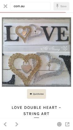 double heart love all strung up string art Nail String Art, String Crafts, Rope Crafts, Yarn Crafts, Resin Crafts, Wedding String Art, Wedding Logo Design, String Art Patterns, Homemade Art