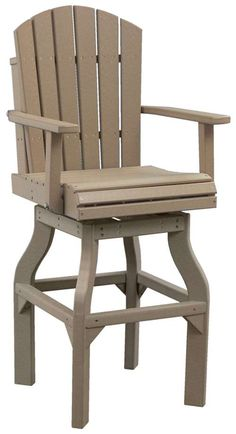 This bar chair is comfortable, can swivel and looks like real wood! Virtually no maintenance required. Extremely easy to clean with soap and water. Outdoor Patio Furniture - LuxCraft Adirondack Swivel Bar Chair |Chairs | Tables | Benches | Stools