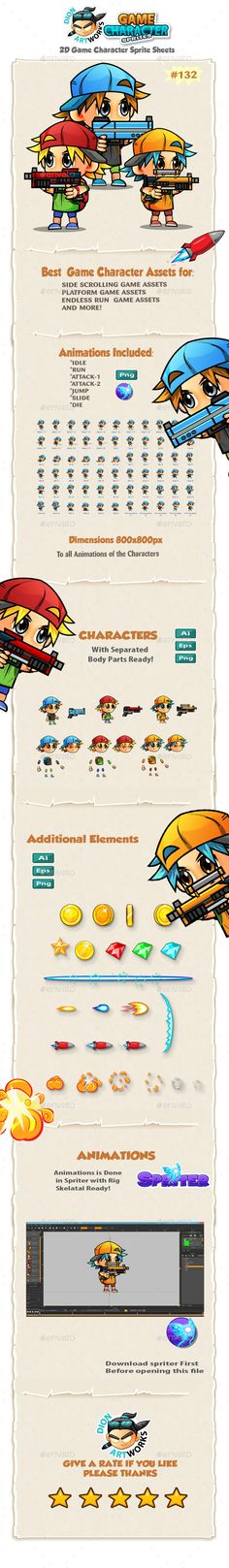 2D Game Character Sprites 132 — Vector EPS #character #one set • Available here → https://graphicriver.net/item/2d-game-character-sprites-132/13559451?ref=pxcr