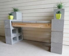 These thrift store DIY garden projects are just the thing for a rainy Saturday (or a sunny Monday!) to help you decorate your outdoor space. Cinder Block Furniture, Cinder Block Bench, Cinder Block Garden, Garden Blocks, Cinder Block Ideas, Backyard Projects, Backyard Patio, Garden Projects, Diy Projects