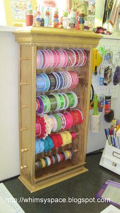 Ribbon Holder Cabinet - craft room