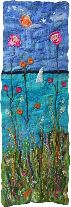 Felt panel (1 of 3)  Handmade felt with free machine embroidery by rosiepink - original, skilled and beautiful work!