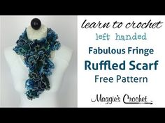 Crochet Ruffled Scarf with Mary Maxim Fabulous Fringe Yarn - Left Handed - YouTube