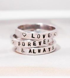 Spell out your own special message on this Custom Stamped Silver Ring by Tarnished & True