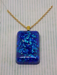 Sparkly, glittery pendant, unique, pendant necklace, bridesmaid gift, bling, teenager, OOAK, blue pendant, blue jewelry, gift for her, by artyResin on Etsy