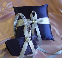 (I can SO make these in my colors!!!) Navy Blue And Silver Grey Ring bearer pillow by All4Brides. $60.00, via Etsy