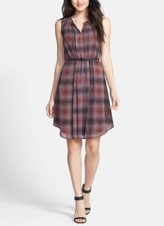 Fall fashion tip - start with a cute print dress and add layers to warm up.