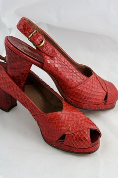 Vtg 1940s RED Snake Reptile Skin PIN Up Platform by LoulousVintage, $165.00