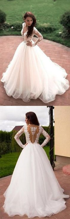 Princess A-Line V-Neck Tulle Ivory Long Sleeves Ball Gown Wedding Dresses OK778 #longsleeve #ballgown #wedding #bridal #tulle #princess #okdresses #weddingdress