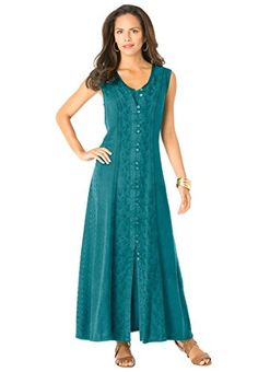 Roamans Women's Plus Size Acid Wash Dress (Teal Green,24 W) Roamans http://www.amazon.com/dp/B00VBZWKGU/ref=cm_sw_r_pi_dp_R8P7vb0HTYE2B