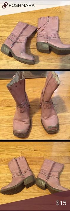 """😎Donating 3/9😎TKS Cowboy Boots Well-loved pink cowboy boots with great embossed details and beaded tassel. Tassel missing on one boot. Shows wear and scuffs, but heels and sole in very good shape and zippers work well. My daughter loved these """"grown up"""" boots and even used them for dress up. TKS Shoes Boots"""