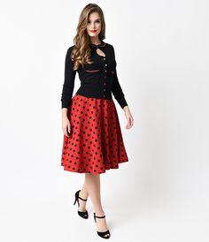 Retro Red & Black Dot High Waisted Thrills Circle Skirt