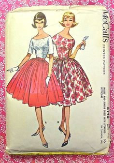 McCalls 5145  1950s Womens Full Skirt Dress Pattern by Fragolina, $14.00