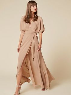 Wedding guest outfit maternity long sleeve Ideas for Kimono Dress, Maxi Wrap Dress, Chiffon Dresses With Sleeves, Brown Bridesmaid Dresses, Robes D'occasion, Cocktail Outfit, Floor Length Dresses, Occasion Dresses, Just In Case
