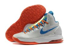 63e0cd19bd62 Home White Blue Orange Nike Zoom KD 5 554988 100 Kevin Durant Basktball  Shoes