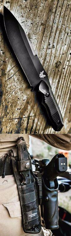 Benchmade - Nimravus 140, Serrated Drop-Point Tactical Combat Fixed Knife Blade 154CM Premium Grade Steel. @aegisgears