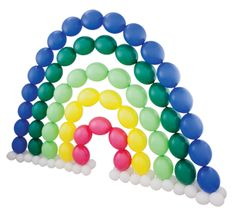 Rainbow arch created with Qualatex Quick Link Balloons. Balloon Columns, Balloon Wall, Balloon Arch, The Balloon, Balloon Display, Balloon Decorations, Balloon Ideas, Bubble Balloons, Rainbow Balloons