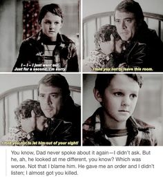 I have always hated the way John Winchester favored Sam. It isn't Dean's fault Mary died. It isn't his fault John hunts. It isn't his fault that Sam is raised in such a crappy situation. It's John's fault. He left Dean alone with Sam whenever he left. He let himself become obsessed with finding Azazel. He put the burden of premature fatherhood on Dean's little shoulders.