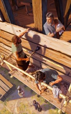 Noah and his family working together to construct the ark