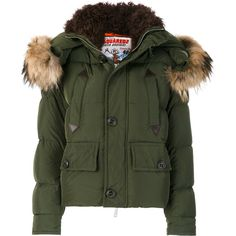 Dsquared2 Hooded Padded Jacket ($2,609) ❤ liked on Polyvore featuring outerwear, jackets, green zip jacket, zipper jacket, green hooded jacket, zip jacket and feather jackets