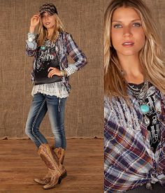 Love the layered shirts!! Boots couldn't get any better either!!