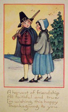 Shop Vintage Thanksgiving Pilgrims Card Created By RetroMagicShop